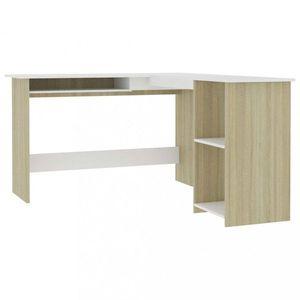 Rohový písací stôl 120x140 cm Dekorhome Dub sonoma / biela vyobraziť