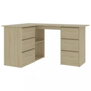 Rohový písací stôl so zásuvkami 145x100 cm Dekorhome Dub sonoma vyobraziť