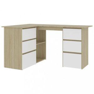 Rohový písací stôl so zásuvkami 145x100 cm Dekorhome Dub sonoma / biela vyobraziť