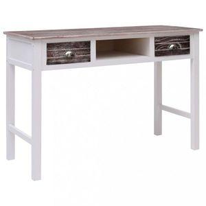 Písací stôl s 2 zásuvkami masívne drevo Dekorhome Biela / strieborná vyobraziť