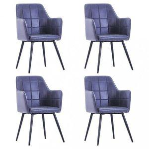 Jedálenská stolička 4 ks umelá semišová koža Dekorhome Sivá vyobraziť