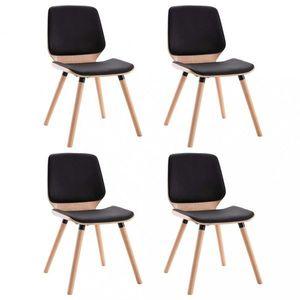 Jedálenská stolička 4 ks Dekorhome Čierna / svetlohnedá vyobraziť
