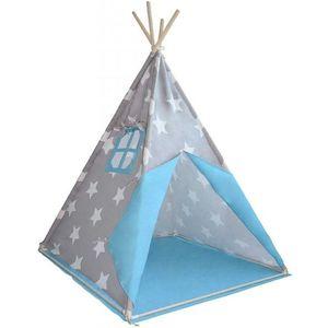 Detský stan teepee, sivo/modrý, bez príslušenstva vyobraziť