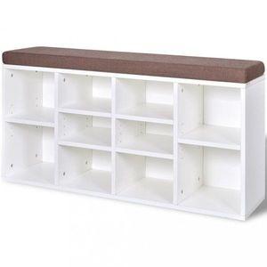 Botníková lavice látka / drevo Dekorhome Biela vyobraziť