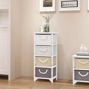 Komoda so 4 zásuvkami biela / sivá / hnedá Dekorhome vyobraziť