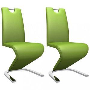 Jedálenská stolička 2 ks umelá koža / chróm Dekorhome Zelená vyobraziť