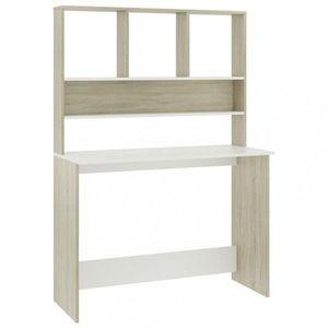 Písací stôl s horným regálom Dekorhome Dub sonoma / biela vyobraziť