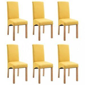 Jedálenská stolička 6 ks látka / drevo Dekorhome Žltá vyobraziť