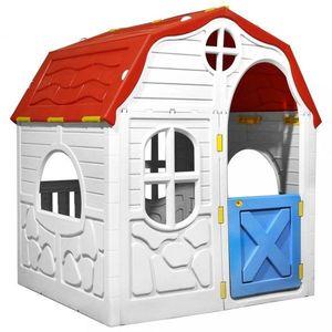Detský domček biela / červená / modrá Dekorhome vyobraziť