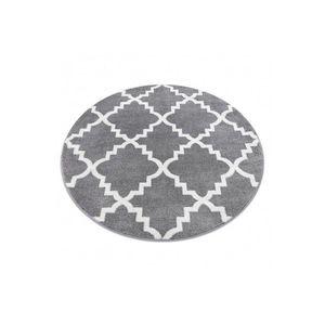 Okrúhly koberec SKETCH KEVIN sivý / biely trellis vyobraziť