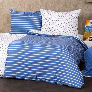 4Home Bavlnené obliečky Pruhy modrá, 140 x 200 cm, 70 x 90 cm vyobraziť