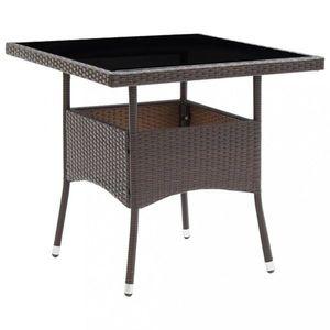 Záhradný jedálenský stôl umelý ratan / sklo Dekorhome vyobraziť