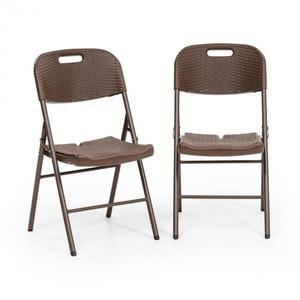 Blumfeldt Burgos Seat, skladacia stolička, sada 2 kusov, HDPE, oceľ, ratanový vzhľad, hnedá vyobraziť