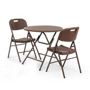 Blumfeldt Posedenie Burgos stôl + 2 stoličky oceľové trubky HDPE imitácia ratanu sklápateľné vyobraziť
