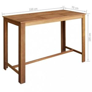 Barový stôl hnedá Dekorhome 150x70 cm vyobraziť
