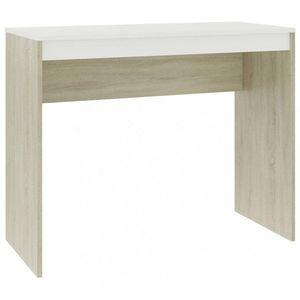 Písací stôl drevotrieska Dekorhome Biela / dub sonoma vyobraziť