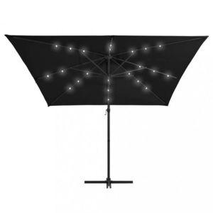 Konzolový slnečník s LED svetlami 250x250 cm Dekorhome Čierna vyobraziť