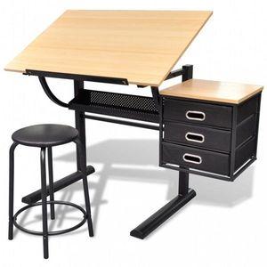 Náklopný kresliace stôl so stoličkou a zásuvkami Dekorhome vyobraziť
