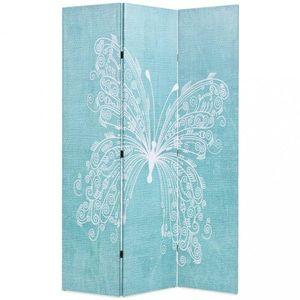Paraván motýľ modrá / biela Dekorhome 3 vyobraziť