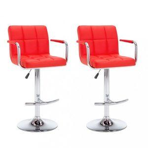 Barové stoličky 2 ks umelá koža / kov Dekorhome Červená vyobraziť