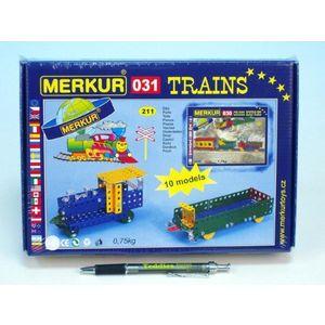 Stavebnice Merkur 031 Železniční modely 10 modelů 211ks v krabici 26x18x5cm vyobraziť