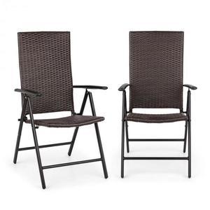 Blumfeldt Estoril, záhradná stolička, polyratan, hliník, 7 úrovní, skladacia, hnedá vyobraziť