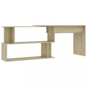 Rohový písací stôl s policami Dekorhome Dub sonoma vyobraziť