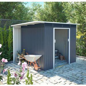 Záhradný domček s prístreškom CH sivá Dekorhome vyobraziť