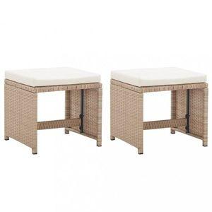 Záhradné stoličky 2 ks polyratan Dekorhome Béžová vyobraziť