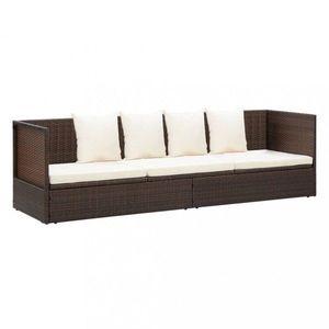 Záhradná posteľ polyratan / látka Dekorhome Hnedá vyobraziť