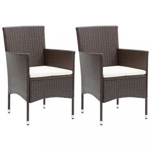 Záhradné stoličky 2 ks umelý ratan Dekorhome Hnedá vyobraziť