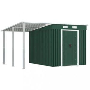 Záhradný domček s prístreškom 346x236x181 cm Dekorhome Zelená vyobraziť