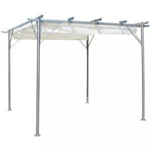 Pergola so zaťahovacou strechou 3 x 3 m Dekorhome Biela vyobraziť