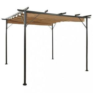 Pergola so zaťahovacou strechou 3 x 3 m Dekorhome Sivohnedá taupe vyobraziť