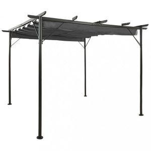 Pergola so zaťahovacou strechou 3 x 3 m Dekorhome Antracit vyobraziť