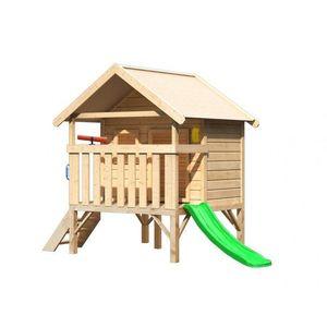 Detský domček so šmýkačkou Dekorhome Zelená vyobraziť