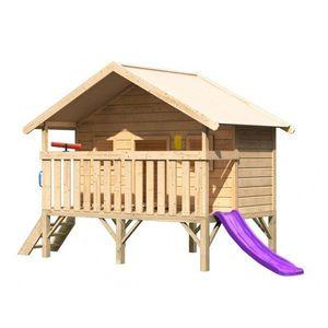 Detský domček so šmýkačkou Dekorhome Fialová vyobraziť