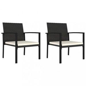 Záhradné stoličky 2 ks polyratan / látka Dekorhome Čierna vyobraziť