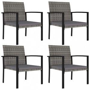 Záhradné stoličky 4 ks polyratan / látka Dekorhome Sivá vyobraziť