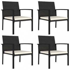Záhradné stoličky 4 ks polyratan / látka Dekorhome Čierna vyobraziť