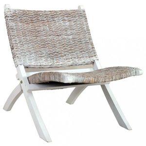 Relaxačné kreslo ratan / mahagón Dekorhome Biela vyobraziť