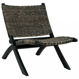 Relaxačné kreslo ratan / mahagón Dekorhome Čierna vyobraziť