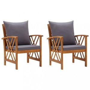 Záhradné stoličky 2 ks akácie / látka Dekorhome Sivá vyobraziť