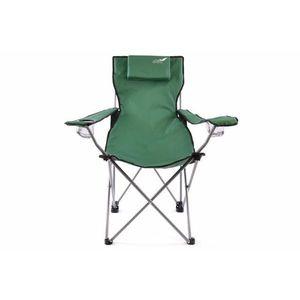 Skladacia kempingová stolička DIVERO s vankúšikom – zelená vyobraziť
