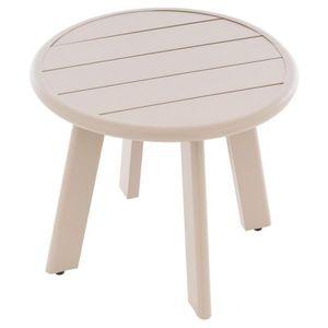 Okrúhly hliníkový stolík, béžový vyobraziť