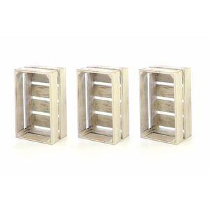 Sada drevených debničiek VINTAGE DIVERO - 3 ks biela vyobraziť