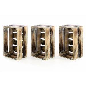 Sada 3x drevená debnička VINTAGE DIVERO hnedá - 44 x 28 x 19 vyobraziť