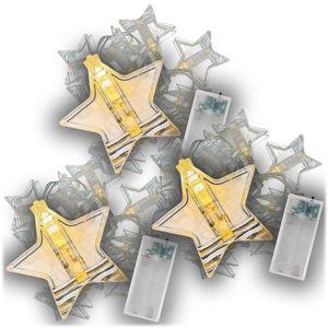 Vianočná svetelná reťaz hviezdy, 3 ks, teple biela, 10 LED vyobraziť