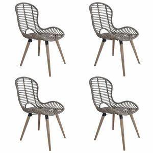Jedálenská stolička 4 ks ratan / drevo Dekorhome Hnedá vyobraziť