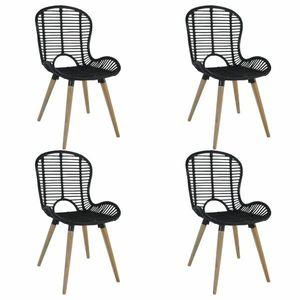 Jedálenská stolička 4 ks ratan / drevo Dekorhome Čierna vyobraziť